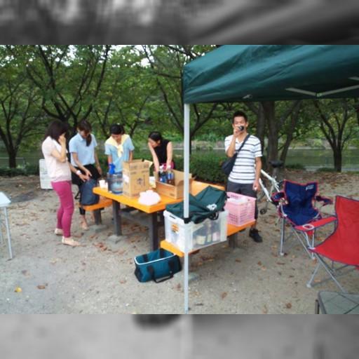 荒子川公園でバーベキューの準備が始まりました!