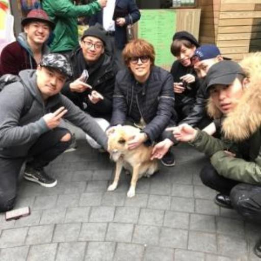 宮野真守さん(声優・舞台俳優)が台湾の犬と戯れています。