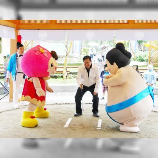 台湾と日本のマスコットキャラが相撲 復元された日本時代の土俵で | 社会 | 中央社フォーカス台湾